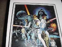 Star Wars Affiche Signée Auto Movie Par 8 Mark Encadré Hamillharrison Fordfisher