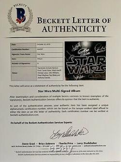 Star Wars Cast Signé Album H. Ford Carrie Pêcheur John Williams + Pas Bas Affiche