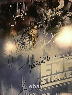 Star Wars Empire Frappe En Arrière Cast Signé 27x40 Affiche Coa (17 Signatures) Wow