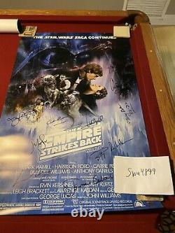 Star Wars Empire Strikes Back Cast Signé 27x40 Poster Coa (16 Signatures)