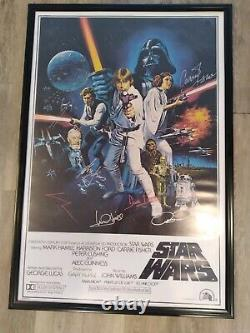 Star Wars Full Cast Signed Y Compris George Lucas Autograph Photo Poster Withcoa