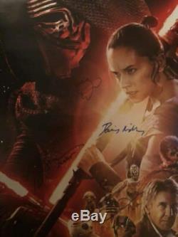 Star Wars La Force Awakens Cast Signé Autograph Affiche Du Film Carrie Fisher Opx