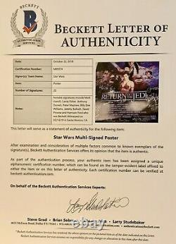 Star Wars Rotj Cast Signated Film Poster Harrison Ford Carrie Pêcheur Marque Hamill