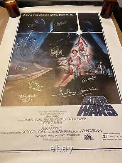 Star Wars Signé Affiche Mark Hamill & Casting Signé Beautiful Avec Beckett Letter
