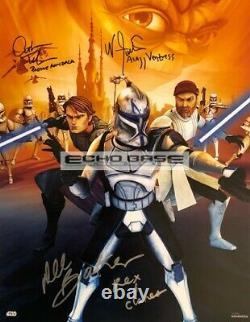 Star Wars The Clone Wars Cast Rex Ventress + Autograph Topps Swa 11x14 Signé