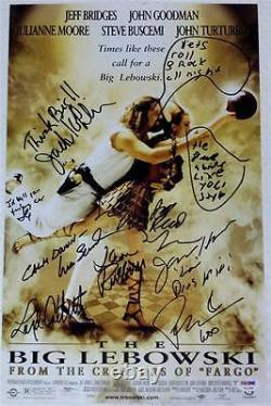 The Big Lebowski Cast Signé 11x17 Affiche Du Film Photo Jeff Bridges Auto Psa Coa