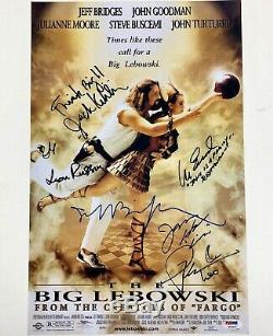 The Big Lebowski Cast Signé 11x17 Affiche Du Film Photo Psa Coa Loa Jeff Bridges