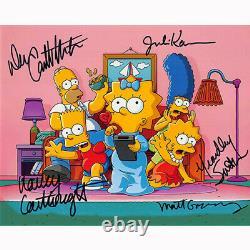 The Simpsons Cast By 5 (79952) Autographié En Personne 8x10 Avec Coa