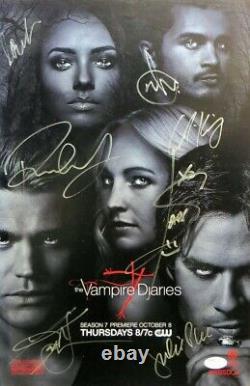 The Vampire Diaries Cast Autographed 11x17 Affiche Wesley Plec Somerhalder Jsa