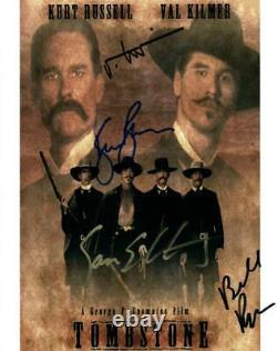 Tombstone Cast Val Kilmer +3 Autographié 8x10 Photo Signée Pic Coa