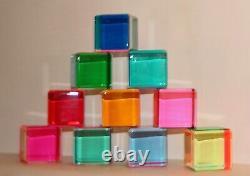 Vasa Mihich Original 1984 Cast Acrylic Cube Sculptures / Ensemble De 10