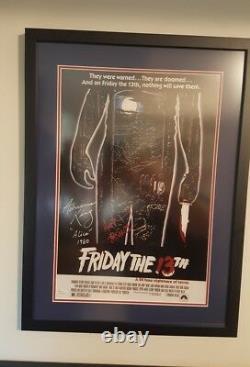 Vendredi, La 13e Affiche De Film Signé Par 2 Cast 17x23 Framed Horror Auto'd Jsa