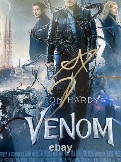 Venom Autographed Auto Signed X3 Cast Photo 12x18 Tom Hardy Marvel Psa/dna Loa
