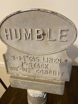 Vieille Huile De Humble Texas Essence Gaz Pipeline Cast Metal Marqueur