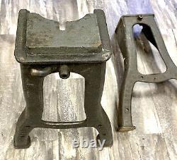 Vintage Signé En Fonte Acier Industriel De Table Jambes De Base Lourd 23 1/2 H