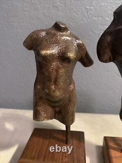 Vtg Scott Nelles Bronze Nue Figure Casts Bust Adam & Eve 1981 Signé Rare