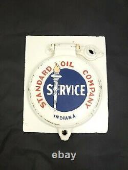 Vtg Standard Oil Company Cast Iron Lubester LID Hatch Port Sign Service Indiana