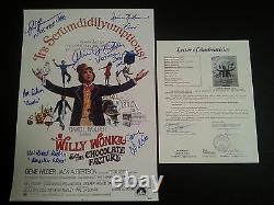 Willy Wonka Cast(x6) Authentic Hand-signé Gene Wilder 12x18 Photo (jsa Loa)