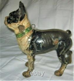 X Rare Antique Nous Cast Iron Sign I. C. C. Forward Boston Terrier Dog Home Doorstop